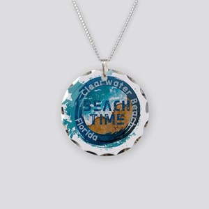 Florida - Clearwater Beach Necklace Circle Charm