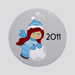 Snowball Girl (C/Rd) 2011 Ornament (Round)