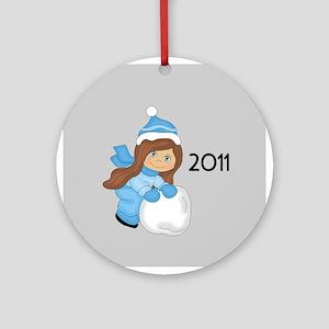 Snowball Girl (C/br) 2011 Ornament (Round)