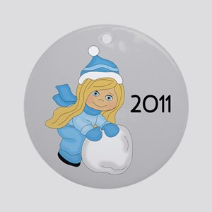 Snowball Girl (C/Bl) Ornament (Round)