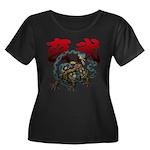 Genbu Women's Plus Size Scoop Neck Dark T-Shirt