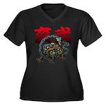 Genbu Women's Plus Size V-Neck Dark T-Shirt