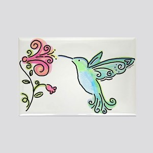 Hummingbird and Flower Rectangle Magnet