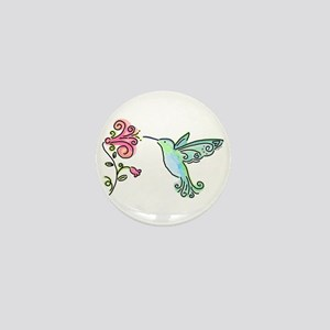 Hummingbird and Flower Mini Button