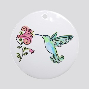 Hummingbird and Flower Ornament (Round)