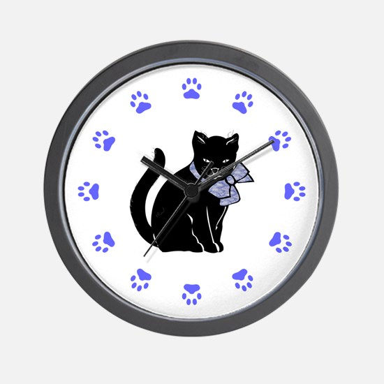 Black Cat W/Purple Bow Wall Clock