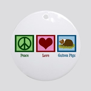 Peace Love Guinea Pigs Ornament (Round)
