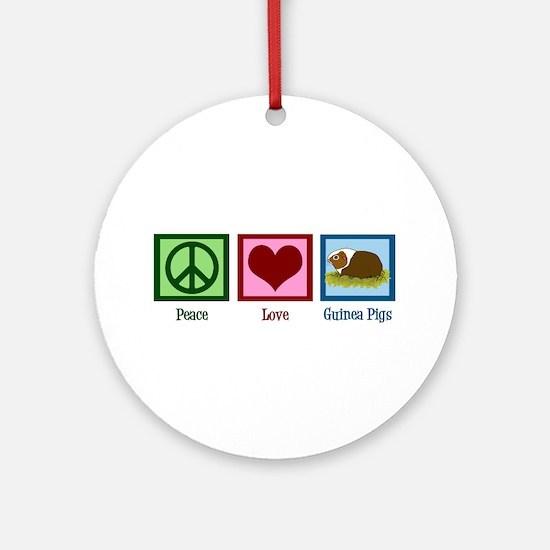 Peace Love Guinea Pigs Ornament (Round)