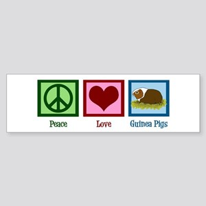 Peace Love Guinea Pigs Sticker (Bumper)