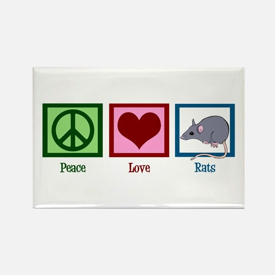 Peace Love Rats Rectangle Magnet