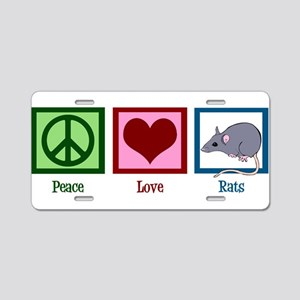 Peace Love Rats Aluminum License Plate