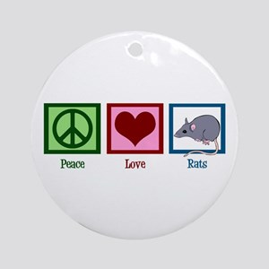 Peace Love Rats Ornament (Round)