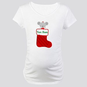 Personalized Christmas Mouse Maternity T-Shirt