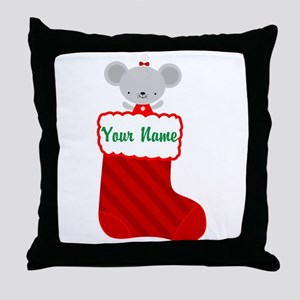 Personalized Christmas Mouse Throw Pillow