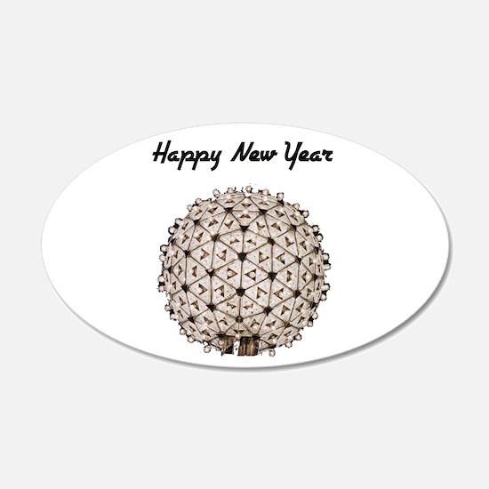 Happy New Year Ball 22x14 Oval Wall Peel