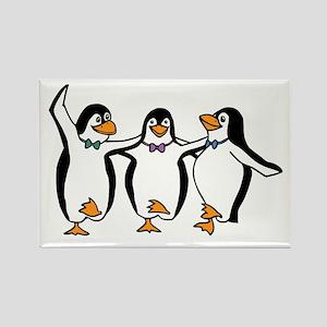 Penguins Dancing Rectangle Magnet