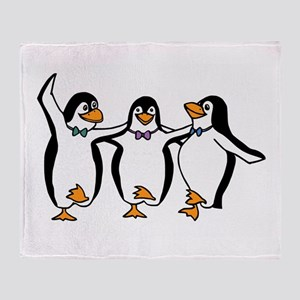 Penguins Dancing Throw Blanket