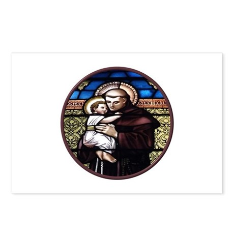ST. ANTHONY OF PADUA STAINED GLASS WINDOW Postcard