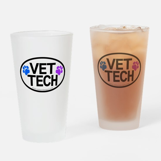Drinking Glass - Vet Tech Oval Pawprints