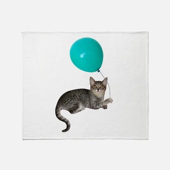 Cat with Ballon Throw Blanket