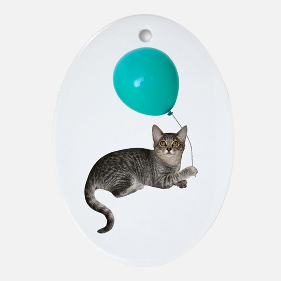 Cat with Ballon Ornament (Oval)