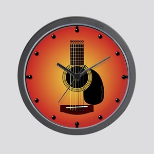 acoustic guitar cherry sunburst Wall Clock