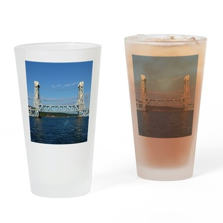Portage Lake Lift Bridge Drinking Glass