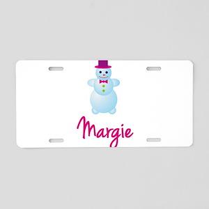 Margie the snow woman Aluminum License Plate