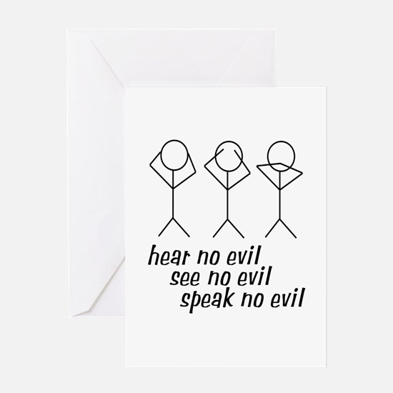 Hear No Evil Stick Figures Greeting Card