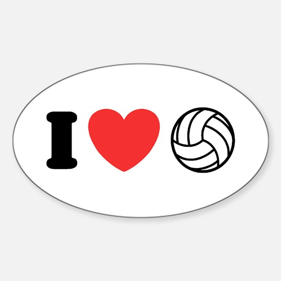 I Love Volleyball Oval Decal