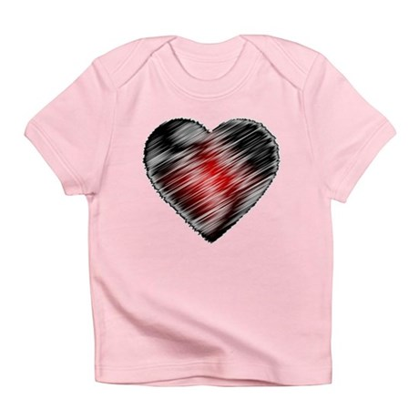 Black and Red Heart Infant T-Shirt