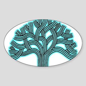 Oakland Tree Hazed Teal Sticker (Oval)