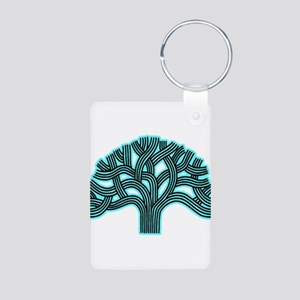 Oakland Tree Hazed Teal Aluminum Photo Keychain