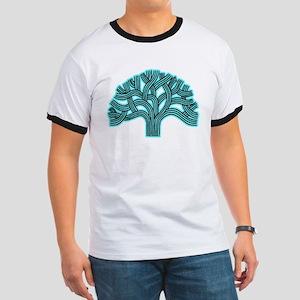 Oakland Tree Hazed Teal Ringer T