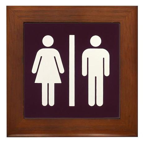 Bathroom Sign Framed Tile