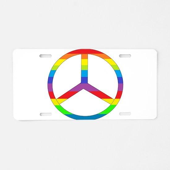 Peace Sign Rainbow Aluminum License Plate