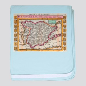 Vintage Map of Spain and Portugal (17 baby blanket