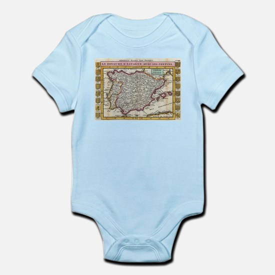 Vintage Map of Spain and Portugal (1747) Body Suit