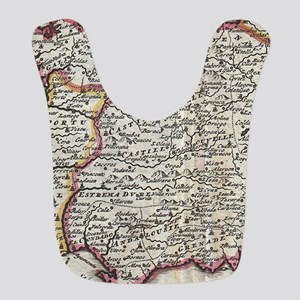 Vintage Map of Spain and Portug Polyester Baby Bib