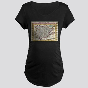 Vintage Map of Spain and Portuga Maternity T-Shirt