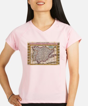 Vintage Map of Spain and P Performance Dry T-Shirt