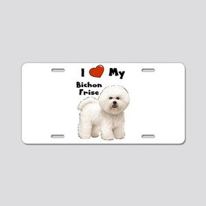 I Love My Bichon Frise Aluminum License Plate