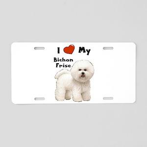 I Love My Bichon Frise Aluminum License Plate
