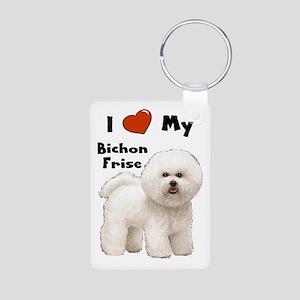 I Love My Bichon Frise Aluminum Photo Keychain
