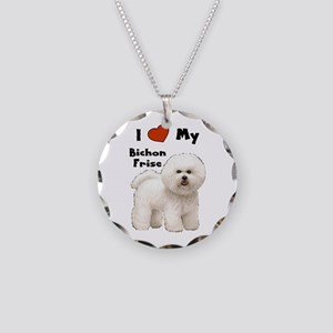 I Love My Bichon Frise Necklace Circle Charm