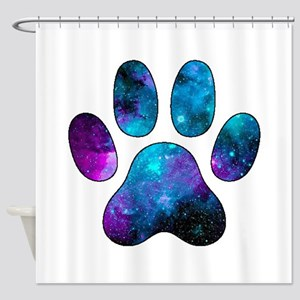 Galactic Paw Print Shower Curtain