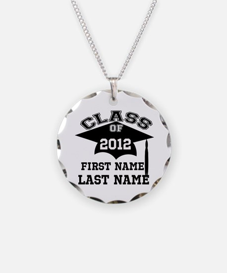 Customizable Senior Necklace Circle Charm