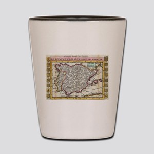 Vintage Map of Spain and Portugal (1747 Shot Glass