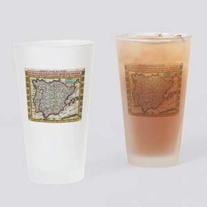 Vintage Map of Spain and Portugal ( Drinking Glass