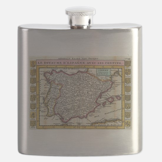 Vintage Map of Spain and Portugal (1747) Flask